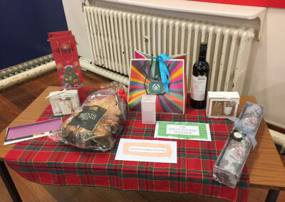 Table of raffle prizes