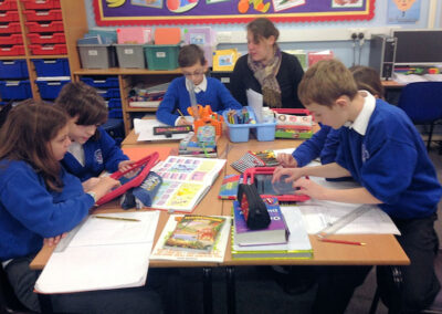 Children working on ipad style computers